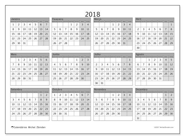 Calendário para imprimir  2018 - Albertus