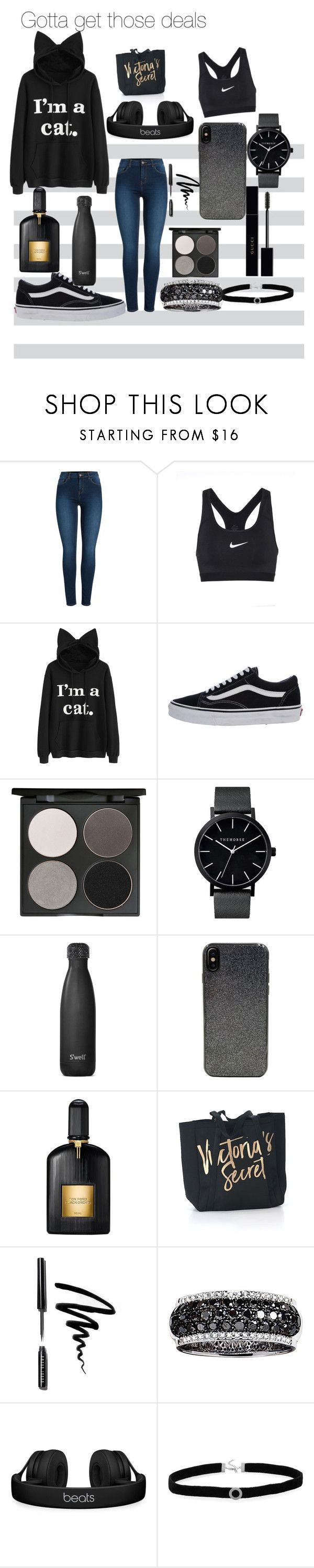 """black Friday rush💀"" by amyystyle ❤ liked on Polyvore featuring Pieces, NIKE, Vans, Gorgeous Cosmetics, S'well, Candywirez, Tom Ford, Victoria's Secret, Bobbi Brown Cosmetics and Effy Jewelry"
