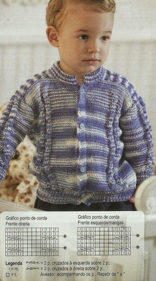 Receita de Tricô: CASACO INFANTIL EM TRICÔ - 18 meses