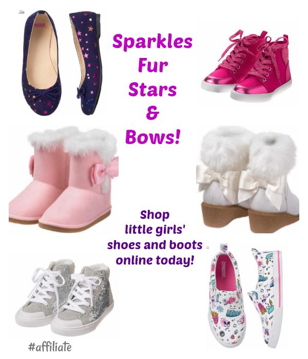 Shop little girls shoes and boots today - sparkles fur stars and bows your little girl will love them! #onlineshopping #ad