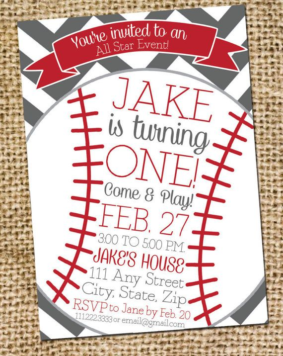 Baseball Birthday Invitation Childs Birthday Party Invite