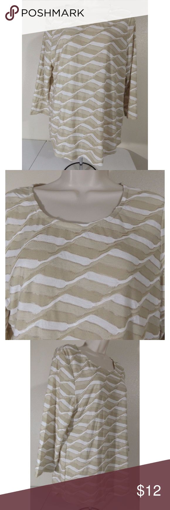 """CHICO'S Striped Pinch Pleated Top 3/4 sleeve lightweight and stretchy all-over pinch pleated design striped pattern in neutral colors  61% Polyester, 39% Rayon Tag as Size 1 which is equivalent to Women's Size 8 or Medium  Excellent used condition. No rips holes or stains.  Approximate measurements (taken laid flat): Armpit to armpit: 20.5"""" Sleeve (shoulder seam to edge of sleeve): 18"""" or pit to edge of sleeve: 12"""" Length (shoulder to hem): 26"""" Chico's Tops Tees - Short Sleeve"""