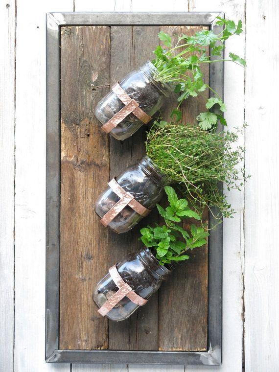Industrial Steel Framed Mason Jar Planter with Hand by wayneworks, $70.00