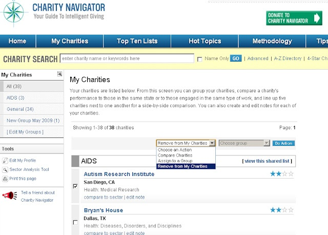 How to remove a charity from your Charity Navigator portfolio - charity evaluation