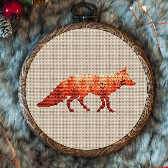 Animal Cross Stitch Pattern Nordic Fox Winter Cross Stitch Landscape Embroidery Fox Design Forest Double Exposure Cross Stitch Pattern A-017