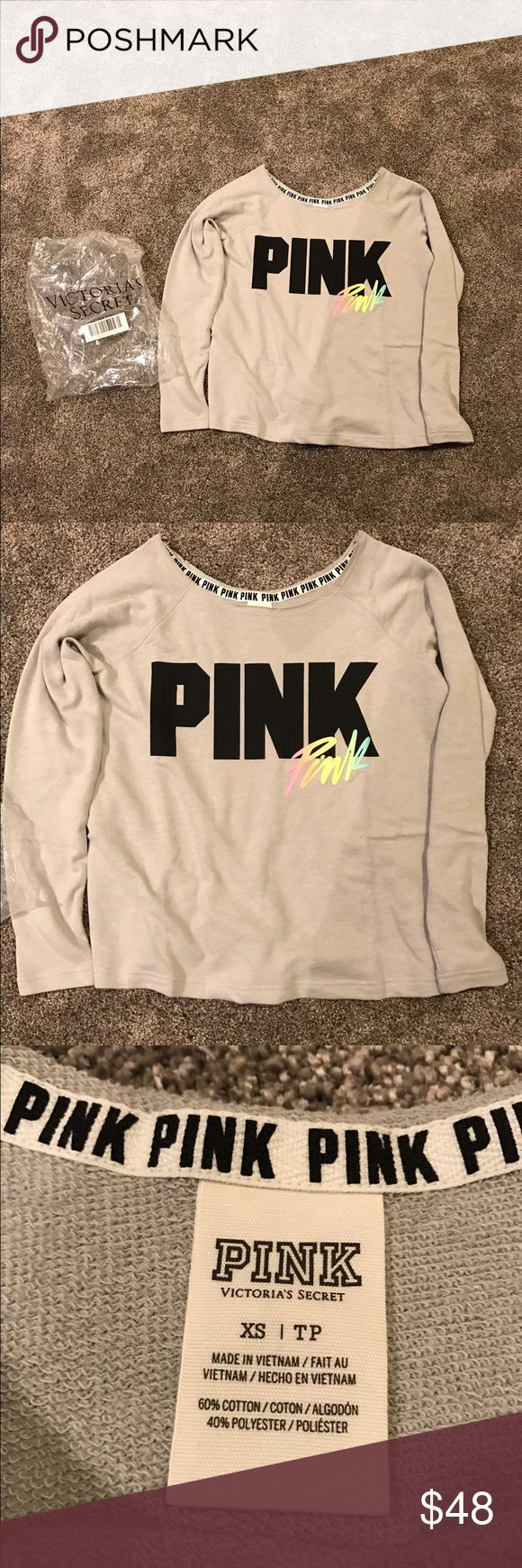 NIP Victoria's Secret Pink slouchy top Sz XS New in online package Victoria's Secret Pink slouchy crew top in a size XS! So cute! Also have a size small in the set that is listed! Smoke free home! Color is grey! PINK Victoria's Secret Tops Sweatshirts & Hoodies