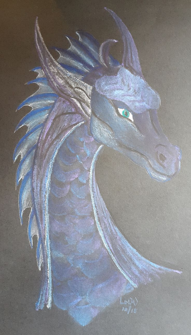 Blue dragon in soft pastel on black paper. A3 size.