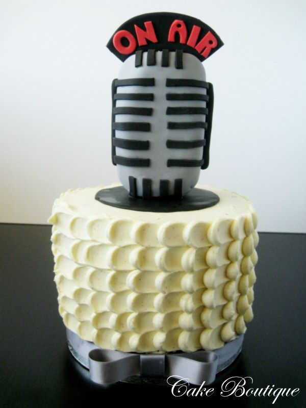 """Radio Microphone cake! Perfect for Adam! I would add """"30 Years"""" to the side of it!"""