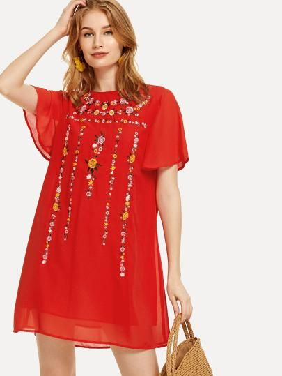 55589afa91 SHEIN Floral Embroidered Flutter Sleeve Tunic Dress.... dresses,cocktail  dresses, party dresses, summer dresses,womens clothes,shein,ladies dresses, outfits ...