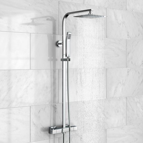 200mm Square Head Thermostatic Exposed Shower Kit