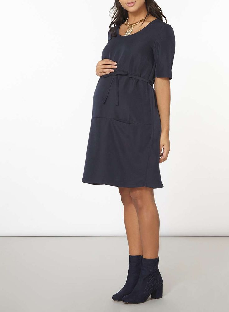 Womens **Mamalicious Maternity Navy Key Hole Shift Dress- Blue