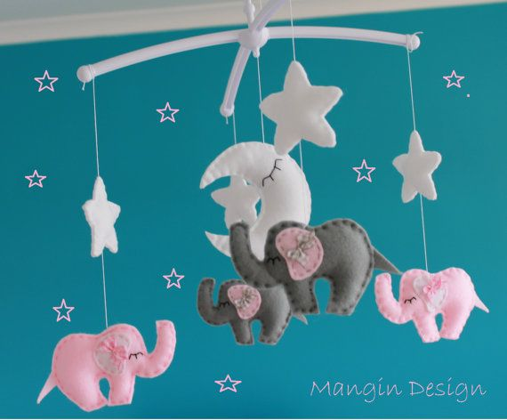 SALE Musical baby cot mobile elephant decorations by ManginDesign