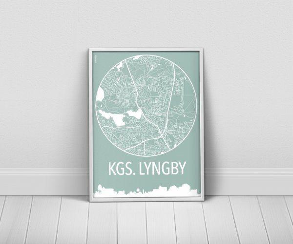 Køb byplakater over Kgs. Lyngby i 9 farvekombinationer