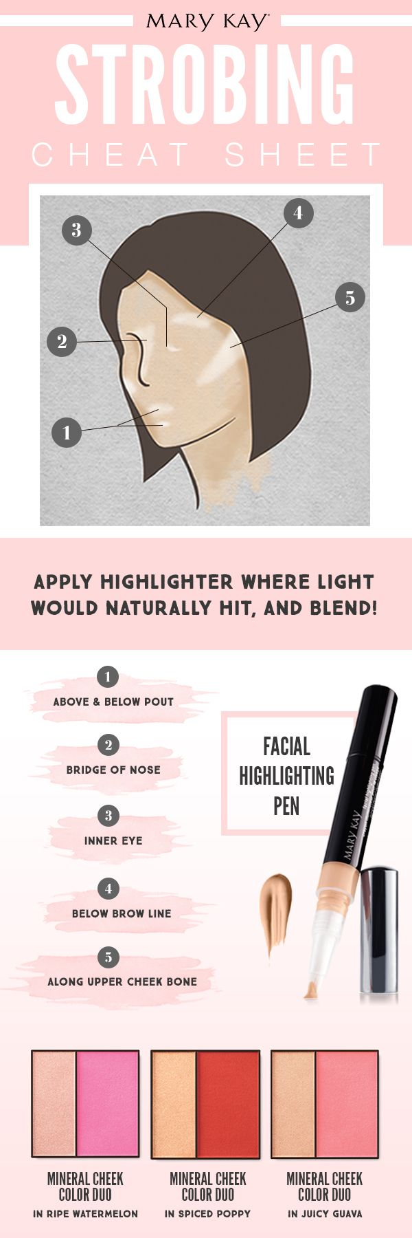 Goodbye contouring, hello strobing! Here's all you need to know about the latest makeup trend that focuses on highlighting where light naturally touches your face! | Mary Kay http://www.marykay.com/lisabarber68 Call or text 386-303-2400 or 832-823-1123