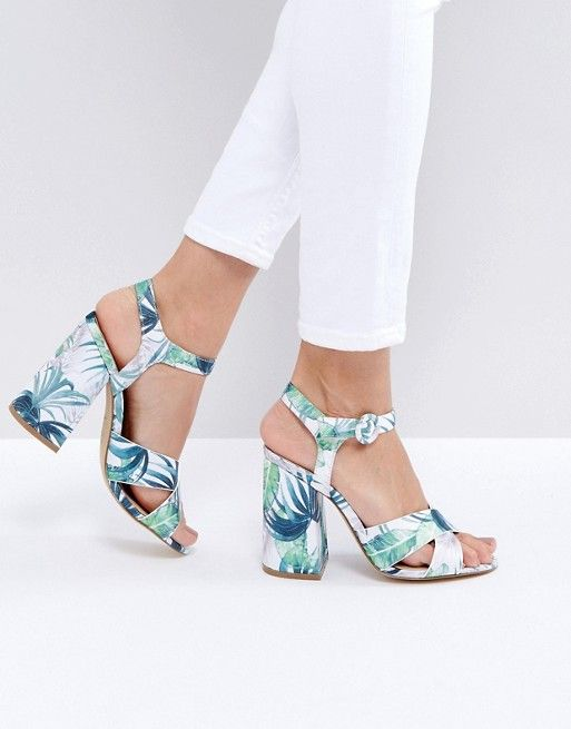New Look Tropical Tapestry Block Heeled Sandal