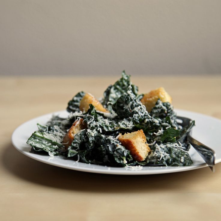 Kale Caesar Salad by yumsugar as adapted from Tartine Bread By Chad Roberston #Salad #Kale #Caesar #Healthy