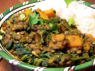Linzencurry met pompoen en spinazie