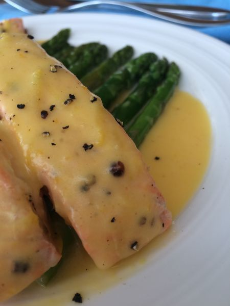 Baked Salmon with Seared Asparagus and Healthy Hollandaise Sauce  Gluten Free, Dairy Free, Paleo & Whole 30.   Check out the recipe on www.thewonkyspatula.com