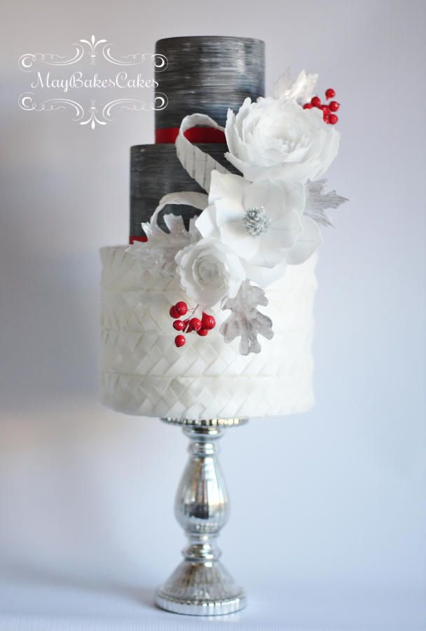 My WINTER cake. Handcrafted with wafer paper flowers and weaved wafer paper at the bottom tier.