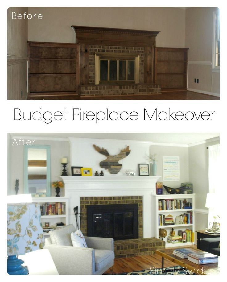 Budget fireplace makeover: How to paint brass fireplace doors and build a faux chimney surround.