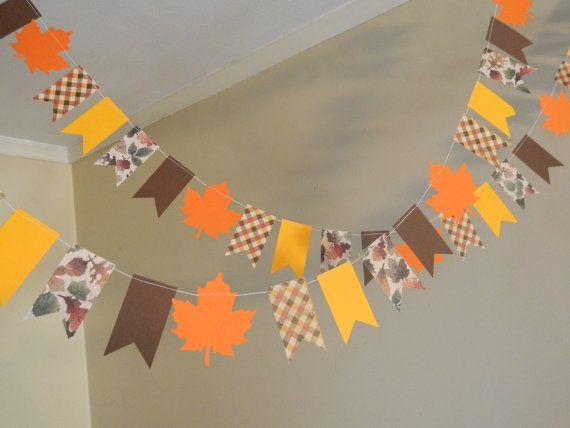 Papel Garland / Decoración de Acción de Gracias / Thanksgiving MINI Bandera Garland / Fall apoyo de la foto / Cosecha Decoración / Decoración Aula