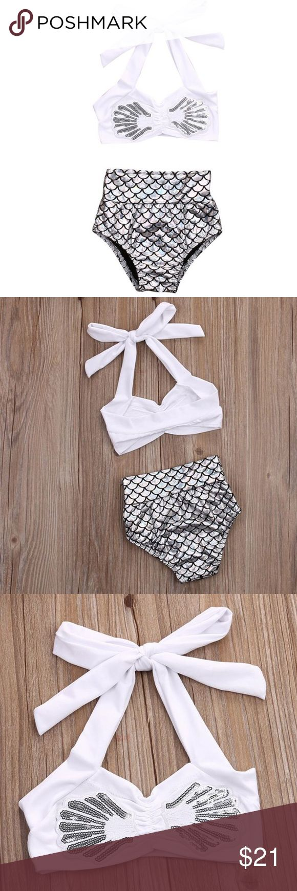 Mermaid bathing suit White and silver mermaid bathing suit. Halter top with high waisted bottoms. Swim Bikinis