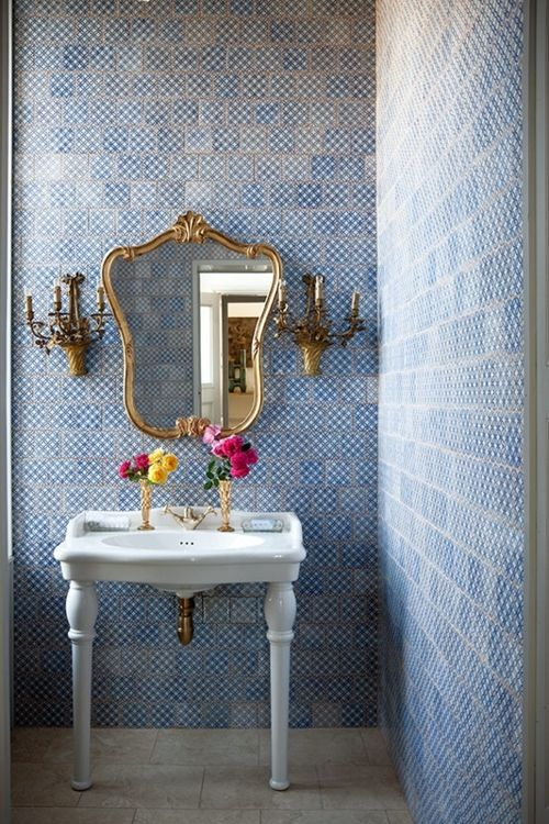 I'll take it.Powder Room, Modern Bathroom Design, Blue Tile, Interiors Design, Bathroom Ideas, Powderroom, Tile Bathroom, Bathroom Decor, Design Bathroom