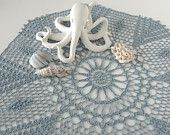 Crochet Doily, tabletop decor, lace centerpiece, frame for wall decor, blue gray, country blue, heirloom quality, cottage chic