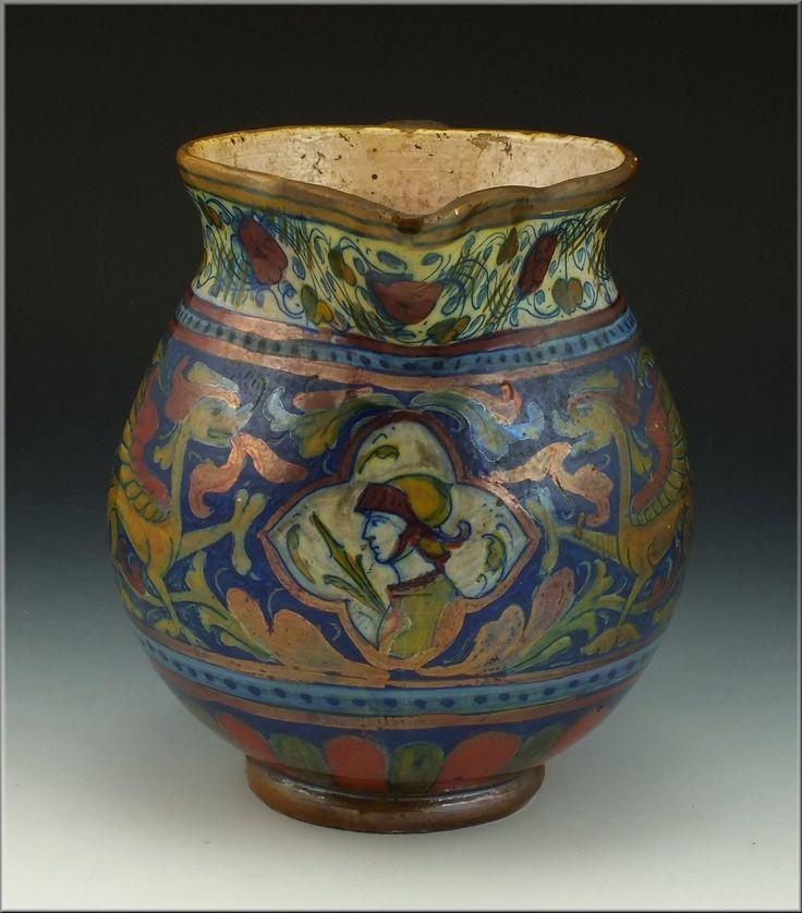 Rare Early Alfredo Santarelli Italian Ceramic Lustre Pitcher Jug Ebay Jugs Ceramics