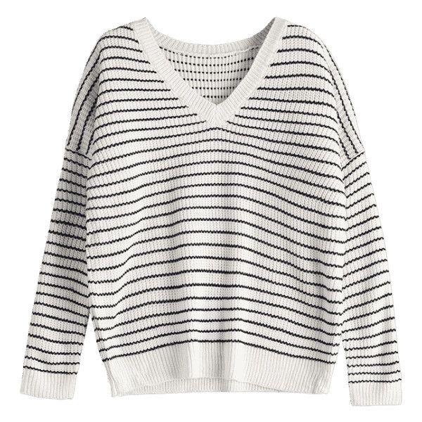 V Neck Drop Shoulder Striped Sweater White (£22) ❤ liked on Polyvore featuring tops, sweaters, white v neck sweater, v-neck sweater, stripe sweater, white top and v neck sweater