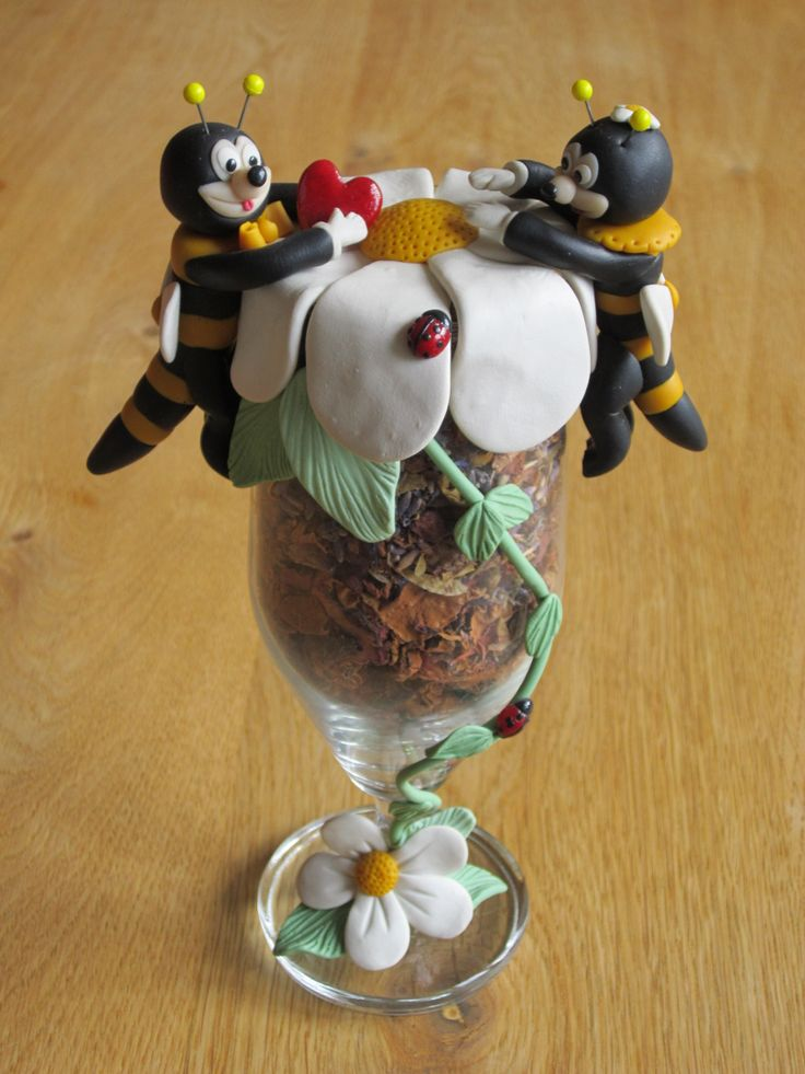 Polymer Love Bees in Champagne Glass