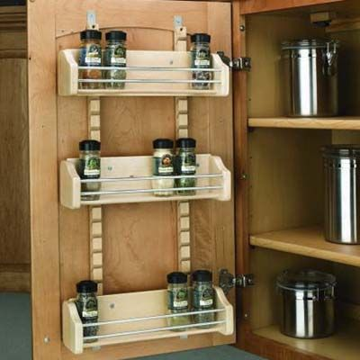 """Adjustable cabinet door-mount spice racks add convenient """"found"""" space to your kitchen. 