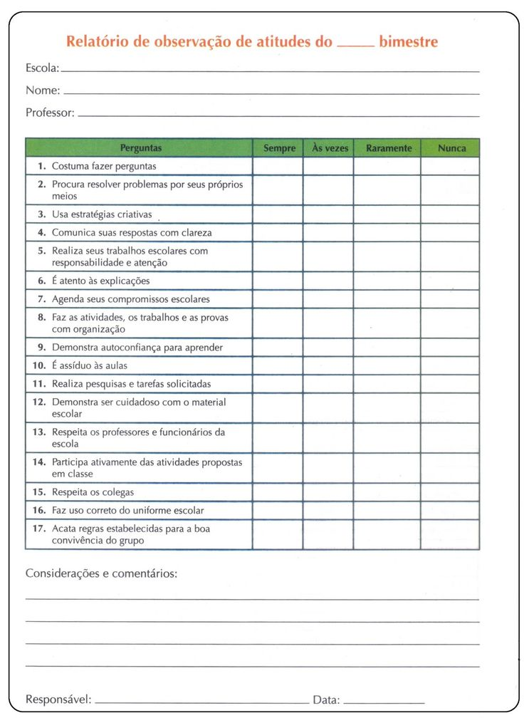 Modelo de relatório de avaliação do desempenho escolar, são diversos modelos grátis para baixar