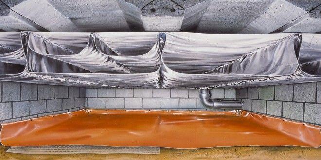 Doorsnede kruipruimte met betonnen vloer en TONZON vloerisolatie