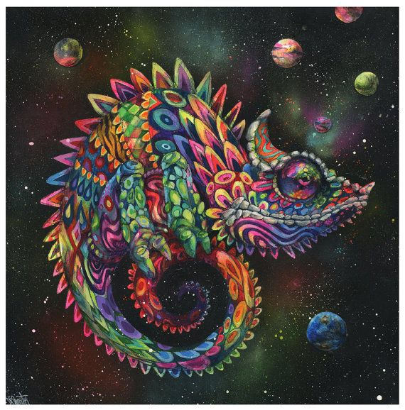 Hey, I found this really awesome Etsy listing at https://www.etsy.com/listing/189883669/chameleon-art-rainbow-herbert-giclee