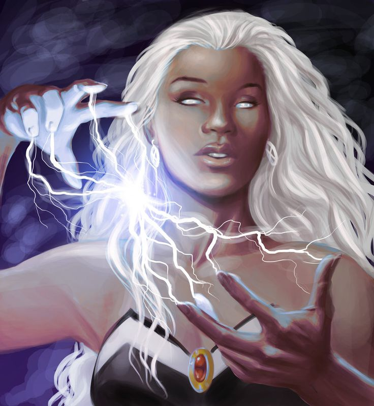 Storm from The X-Men. Her real name is Orroro. I've loved/admired her almost has long as I've loved/admired Catwoman =)