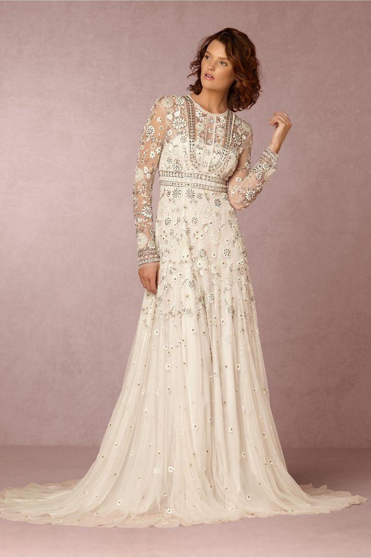 dress for winter wedding. winter wedding embellishment   tabitha gown from bhldn dress for