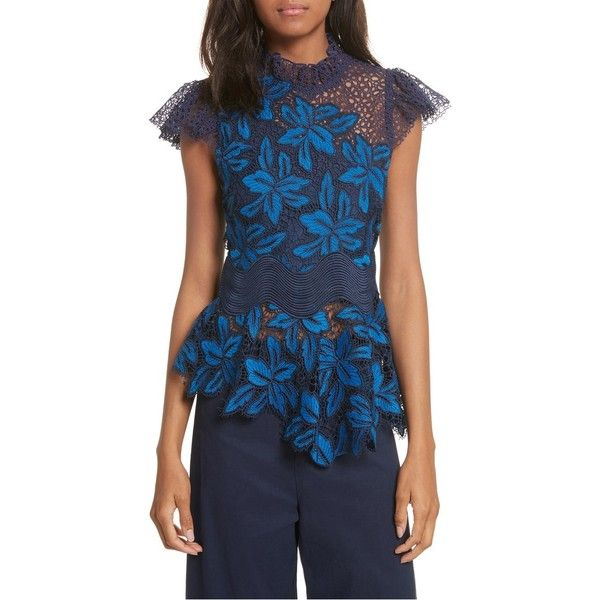 Women's Sea Mosaic Lace Peplum Top (191.750 CLP) ❤ liked on Polyvore featuring tops, blue multi, blue peplum top, blue floral top, floral print tops, floral print peplum top and lace top