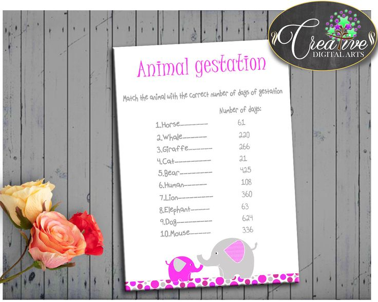 Baby Shower Girl ANIMAL GESTATION game printable with magenta pink gray elephant theme, digital files pdf jpg, instant download - ep001 #babyshowergames #babyshower
