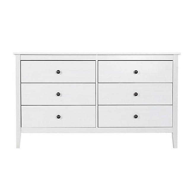 Lison Commode 2x3 tiroirs blanche en pin massif