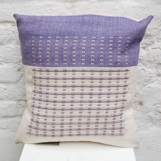 Lavender Cushion handwoven cushion by Zoe Acketts, available to buy online or at Golden Hare Gallery in Ampthill, Bedfordshire