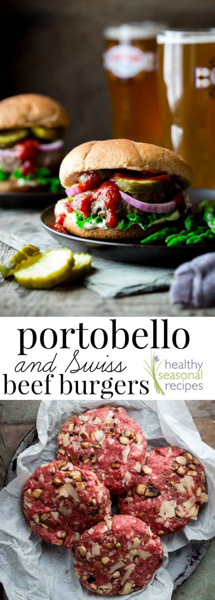 These Portobello and Swiss Beef Burgers are made with ground grass-fed beef stuffed through with shredded Swiss Cheese and chopped portobello mushrooms. They're ready in under 30 minutes, so you can get a delicious kid-friendly dinner on the table lickety-split! Healthy Seasonal Recipes