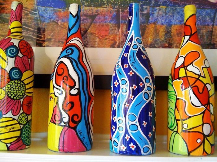 Colorful wine bottle art.