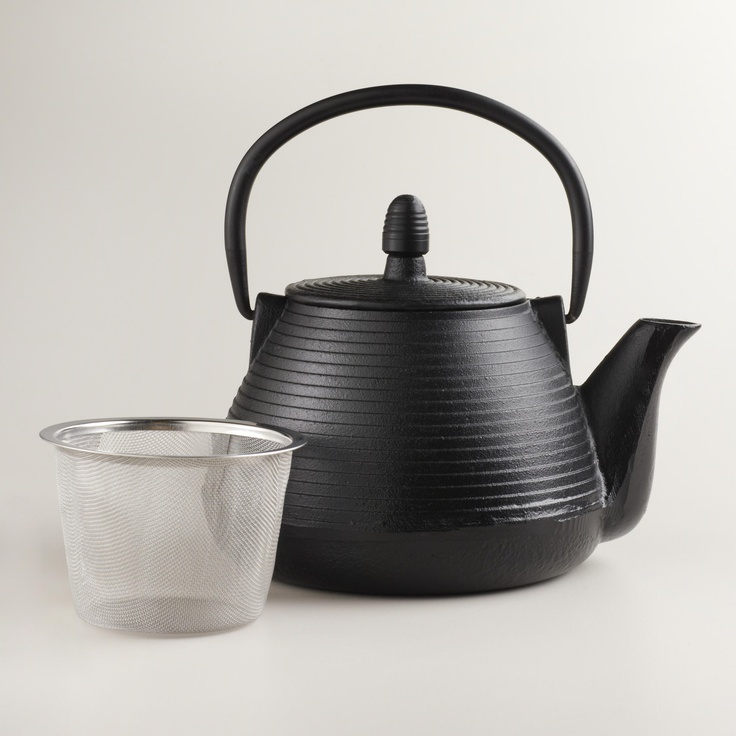 Black cast iron teapot world market bule