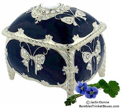 Musical Blue Enamel Rectangle Trinket Box,,beautiful!