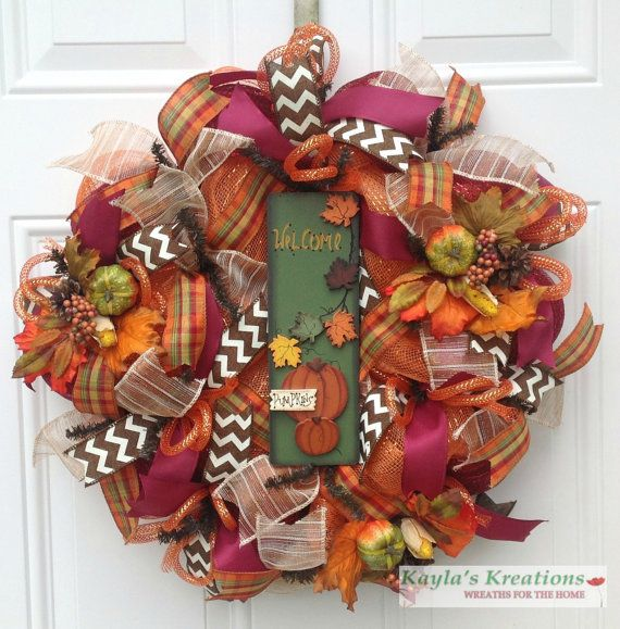 Fall Deco Mesh Wreath, Fall Pumpkin Wreath, Chevron Wreath, Fall Ribbon Wreath, Orange Wreath, Welcome Wreath, Burgundy Wreath, Autumn Wreath...for $78.00 by Kayla's Kreations