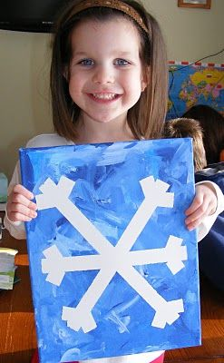 Masking tape snowflake, paint over then peel.