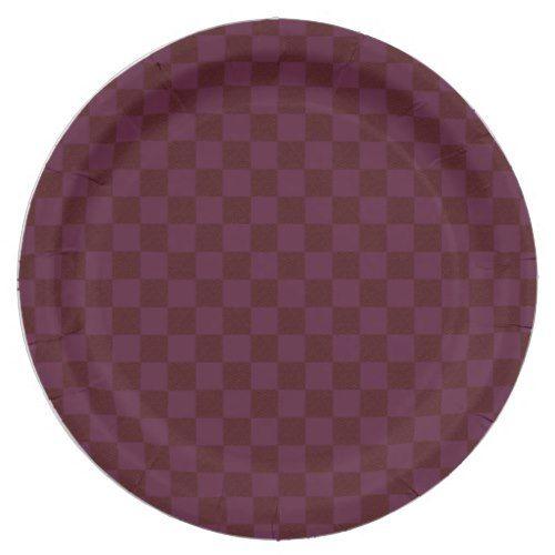 Burgundy Wine Checkerboard Paper Plates