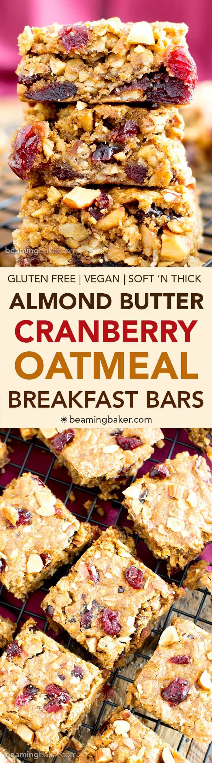 Gluten Free Cranberry Almond Butter Oatmeal Breakfast Bars (V, GF): an easy recipe for soft, texture-rich energy breakfast bars bursting with cranberries and almonds. #WholeGrain #Vegan #GlutenFree #DairyFree | BeamingBaker.com