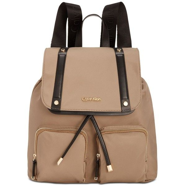 Calvin Klein Teodora Cargo Backpack (£140) ❤ liked on Polyvore featuring bags, backpacks, beige bag, cargo backpack, backpack bags, beige backpack and calvin klein